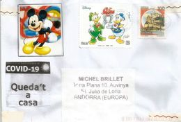 COVID19/CORONAVIRUS. DISNEY ITALY, Letter From Bolzano Sent To ANDORRA, With Local Prevention Label STAY HOME - Comics