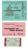 LOT De 3 TICKETS De TRANSPORT POINTE HELBRONNER AIGUILLE DU MIDI ASCENSEUR PITON CENTRAL MONTE BIANCO 1972 MONT BLANC - Trenes