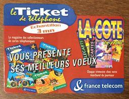 LA COTE EN POCHE TICKET TELEPHONE 3 MN PREPAYÉE PREPAID CARTE TÉLÉPHONIQUE TELECARTE - Frankreich