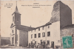 Ca - Cpa APINAC (Loire) - Place De L'Eglise Et Ruines De L'ancien Château Seigneurial - Autres Communes