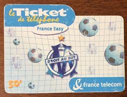 MARSEILLE OM DROIT AU BUT FOOTBALL TICKET TELEPHONE PREPAYÉE PREPAID CARTE TÉLÉPHONIQUE TELECARTE - Frankreich