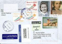 COVID19/CORONAVIRUS.Postapriority Internazionale,letter  Padova Sent To ANDORRA, With Local Prevention Label STAY HOME - 6. 1946-.. República