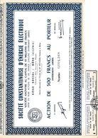 Action Au Porteur De 500 Francs S.T.A.O. SOCIETE CONSTANTINOISE D'ENERGIE ELECTRIQUE.CONSTANTINE ALGERIE - Acciones & Títulos
