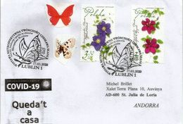 COVID19/CORONAVIRUS. Letter From Lublin Sent To ANDORRA, With Local Prevention Label STAY HOME/ QUEDA'T A CASA - 1944-.... Republic