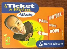 ALIZÉS TICKET TÉLÉPHONE 15 EURO EXP LE 31/08/2004 PRÉPAYÉE PREPAID CARTE TÉLÉPHONIQUE À CODE - Frankreich