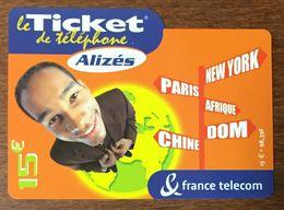 ALIZÉS TICKET TÉLÉPHONE 15 EURO EXP LE 31/10/2004 PRÉPAYÉE PREPAID CARTE TÉLÉPHONIQUE À CODE - Frankreich