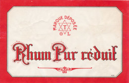 1145 / ETIQUETTE -   RHUM -  PUR    T   G    L - Rhum