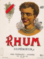 1168 / ETIQUETTE -   RHUM - SUPERIEUR    VINS FROMAGET  VIVONNE - Rhum