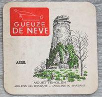 Sous-bock GUEUZE DE NEVE Asse Mouettemolen Molens Van Brabant Moulins Du Brabant (moulin) (CX) - Sous-bocks