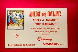 Buvard AUBERGE Des FONTAINES, Imagerie Pellerin Épinal, Noces Et Banquets, Thé Dansant, Chéramy, Vendôme - Papel Secante