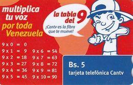 VENEZUELA - La Tabla Del 9, CANTV Magnetic Telecard Bs.5, 09/09, Used - Venezuela