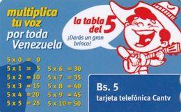VENEZUELA - La Tabla Del 5, CANTV Magnetic Telecard Bs.5, 09/09, Used - Venezuela