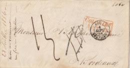 """Lettre De LA HAVANE 1856 Cachet Ambulant """"ANGL.AMB CALAIS"""" + COLONIES ART 18 En Rouge + Modification De La Taxe - 1849-1876: Klassik"""