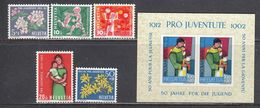 Switzerland 1962 - Pro Juventute, Mi-Nr. 758/62+Bl. 18, MNH** - Suisse