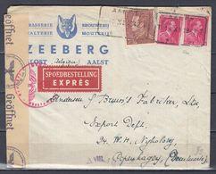 Censuur Brief Van Aalst Telegraafstempel Naar Copenhagen (Denemarken) - 1936-1951 Poortman