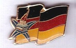 CC137 Pin's ALBERTVILLE ? Jo Drapeau Allemagne Deutschland Dos Lisse Signé 1991 Cojo Achat Immédiat - Invierno