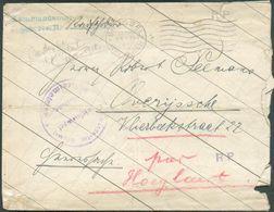 Enveloppe Avec Griffe VerteKommandantur Brüssel Lager Nr.11et ScBRUSSEL NORD BAHNHOFdu 25-IV-1918 + Sc VioletKomman - Guerre 14-18