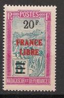 Madagascar - 1942 - N°Yv. 255 - France Libre 20f Sur 5f - Neuf Luxe ** / MNH / Postfrisch - Ongebruikt
