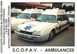 Auto Automobile Ambulance Scopav Ambulances Citroen XM Exposition Theme Santé 7eme Salon Carte Postale Floirac CPM - Taxis & Fiacres