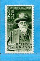 (Riz.N) ITALIA *-1955 - BATTISTA GRASSI.. Lire 25. Unif. 789. MH *.Linguellato.  Come Scansione. - 1946-60: Nuevos