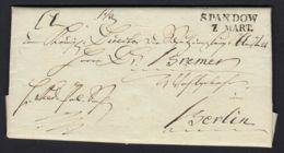 VORPHILA L2 SPANDOW (breites O) Brief Mit Komplettem Inhalt Vom 7.3.1819 (rh20) - [1] Voorlopers