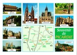 CPM Souvenir De Picardie, Multivues TBE Soissons, Noyon, Gerberoy, Clermont, Compiègne, Pierrefonds, Beauvais, Laon - Picardie