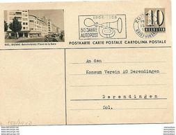 """161 - 92 - Entier Postal Avec Illustration """"Biel/Bienne"""" Place De La Gare"""" Superbe Oblit Mécanique 1956 - Postwaardestukken"""