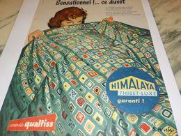 ANCIENNE PUBLICITE DUVET  TISSUS HIMALAYA 1958 - Vintage Clothes & Linen