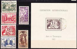 Nouvelle Calédonie 1937 Exposition Int. De Paris Série Complète Yv 166-171 Incluant Bloc 1 Oblitéré O - Used Stamps