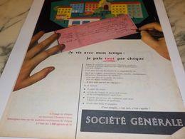 ANCIENNE PUBLICITE JE PAIE PAR CHEQUE  SOCIETE GENERALE 1958 - Advertising