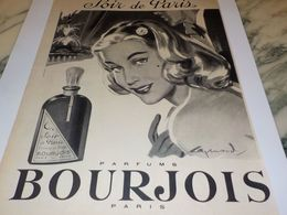 ANCIENNE PUBLICITE PARFUM SOIR DE PARIS DE  BOURJOIS 1958 - Parfums & Beauté