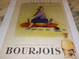 ANCIENNE PUBLICITE PARFUM GLAMOUR DE  BOURJOIS 1958 - Parfums & Beauté
