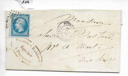 Lettre 20 C Napoléon Non Dentelé Petits Chiffres 1305 Fontenay Le Comte Vers Niort 1862 - 1849-1876: Période Classique