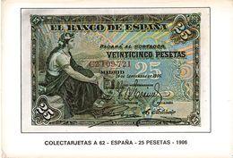 Monnaie Carte Postale Billet De Banque Espagne Colectarjetas A 62 Espana 25 Pesetas 1906  CPM - Monnaies (représentations)