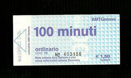 Biglietto Autobus Italia - A.M.T. Genova Ordinario 100 Minuti Da Euro 1.50 - Europe