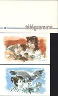 Télégrammes Illustrés Neufs Croix Rouge (2) Fontana Rosa  + Enveloppe Télégramme PTT - Telegramas Y Teléfonos
