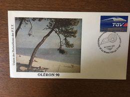 FRANCE 1990 TGV ATLANTIQUE 1989 ASSEMBLEE GENERALE DE L'UPPTT OLERON - Lettres & Documents