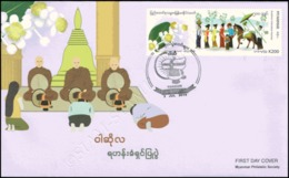 Festivals In Myanmar: Buddhist Ordination Festival -FDC(II)-I- - Myanmar (Burma 1948-...)
