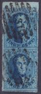 """Belgique - N°11 - 20c Bleu Médaillon En Paire Verticale BdF P """"EST"""" - Matgé Avec Voisin - 1858-1862 Medallions (9/12)"""