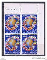 SAN  MARINO:  1982  EDITORI  CATALOGHI  -  £. 300  POLICROMO  BL. 4  N. -  SASS. 1107 - Blocs-feuillets