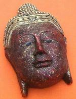 Masque Polychrome  Visage De Bouddha  Bois Sculpté Longueur : 280mm - Asian Art