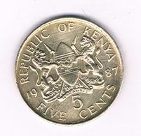 5 CENTS   1987 KENIA /5110/ - Kenia