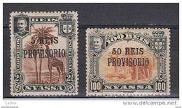 NYASSA:  1910  SOPRASTAMPATI  -  S. CPL. 2  VAL. L. -  YV/TELL. 50/51 - Nyassa