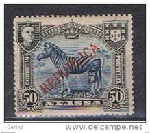 NYASSA:  1921  SOPRASTAMPATO  -  5 C./50 R. NERO  E  BLU  L. -  YV/TELL. 90 - Nyassa