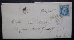 Les Pradeaux D'Issoire 1865 , Lettre Du Maire Pour Le Maire De Saint-Gènes-Champanelle  Cad Issoire Gc 1845 - Marcophilie (Lettres)