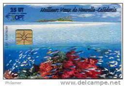 Nouvelle Caledonie Telecarte Transparente Lagon Meilleurs Voeux Corail Messe NC129 Cote 20 Euro BE - Nouvelle-Calédonie