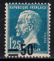 BELLE VARIÉTÉ De SURCHARGE DÉCALÉE VERS LE BAS Sur TIMBRE PASTEUR N° 222 NEUF ** TB (SURCHARGE 50c Sur 1F25) - 1922-26 Pasteur