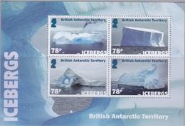 """BAT, Bloc (4 X 78p) Et 4 TP (68, 78, 1,04, 1,26) De 2019 """"Icebergs"""", Neufs ** - Britisches Antarktis-Territorium  (BAT)"""