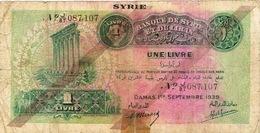 Syrie Liban Billet De Banque Banknote Monnaie Money Cheval 1 Livre 20 Francs Damas 1939 Us Courant Scotch - Syrien