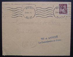 """1945 Vichy, Lettre Avec Tampon """"Vue Et Annexé , Le Commissaire De Police."""" - Marcophilie (Lettres)"""